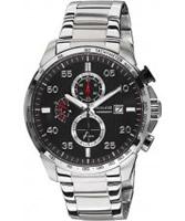 Buy Accurist Mens Chronograph Black Steel Bracelet Watch online