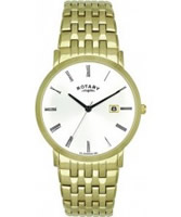 Buy Rotary Mens White Dial Gold Plated Steel Bracelet Watch online