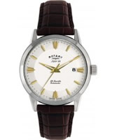 Buy Rotary Mens Les Originales White Dial Brown Leather Strap Watch online
