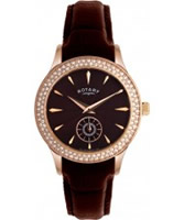 Buy Rotary Ladies Timepieces Crystals Brown Dial And Leather Strap Watch online