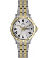 Buy Rotary Mens White Dial Two Tone Bracelet Watch online
