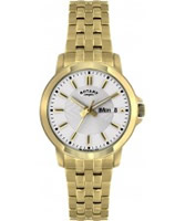 Buy Rotary Mens White Dial Gold Tone Bracelet Watch online