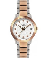 Buy Rotary Ladies Stone Set Mop Dial Two Tone Ss Bracelet Watch online