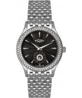 Buy Rotary Ladies Stone Set Black Dial Ss Bracelet Watch online