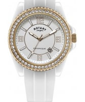 Buy Rotary Ceramique White Stone Set Watch online