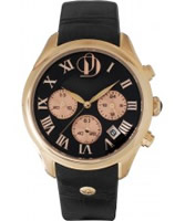 Buy Project D Ladies Chronograph Black Leather Strap Watch online