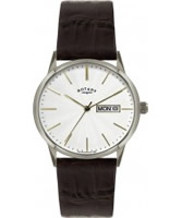 Buy Rotary Mens White and Brown Leather Watch online