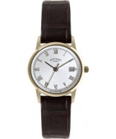 Buy Rotary Ladies White and Brown Leather Watch online