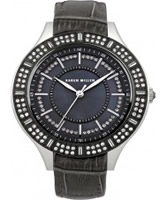 Buy Karen Millen Ladies Black Leather Stone Set Watch online