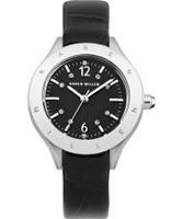 Buy Karen Millen Ladies Black Leather Strap Watch online