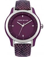 Buy Karen Millen Ladies Purple Leather Watch online