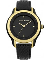 Buy Karen Millen Ladies Black Gold IP Watch online