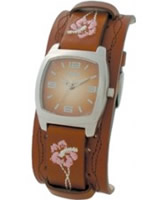 Buy Kahuna Ladies Brown Leather Cuff Strap With Brown Sunray Dial Watch online