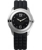 Buy Mango Ladies Black Dial With Black Leather Strap Watch online