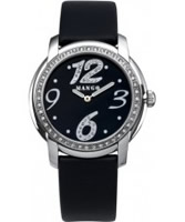 Buy Mango Ladies Black Dial With Crystals And Black Leather Strap Watch online