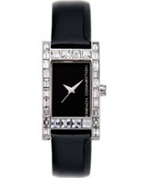 Buy French Connection Ladies Stone Set Black Dial Leather Strap Watch online