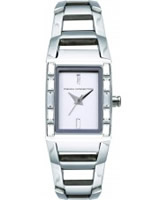 Buy French Connection Ladies Rectangular Silver Dial Stone Set Steel Watch online