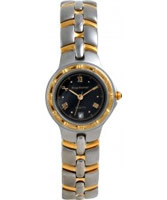 Buy Krug Baumen Ladies Regatta Black Steel Gold Watch online
