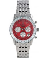 Buy Krug Baumen Air Traveller Red Dial Stainless Steel Strap online