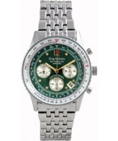 Buy Krug Baumen Air Traveller Green Dial Stainless Steel Strap online