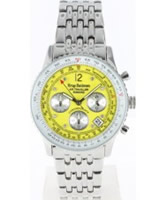 Buy Krug Baumen Air Traveller Yellow Dial Stainless Steel Strap online