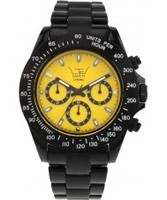Buy LTD Watch Unisex Yellow Dial Black Strap Chronograph Watch online