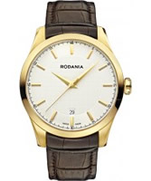 Buy Rodania Swiss Mens Gold and Brown Nolan Watch online