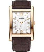 Buy Rodania Mens Rose Gold and Brown Manhattan Watch online