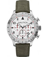 Buy Nautica Mens Olive BFD 105 Chronograph Watch online