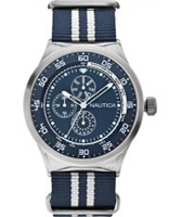 Buy Nautica Mens Blue and White NST 17 Multifunction Watch online