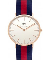 Buy Daniel Wellington Mens Oxford Rose Blue and Red Nato Strap Watch online