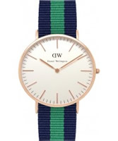 Buy Daniel Wellington Mens Warwick Rose Blue and Green Nato Strap Watch online