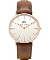 Buy Daniel Wellington Mens St Andrews Rose Brown Leather Strap Watch online