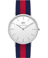 Buy Daniel Wellington Mens Oxford Silver Red and Blue Nato Strap Watch online
