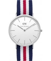 Buy Daniel Wellington Mens Canterbury Silver Red White and Blue Nato Strap Watch online