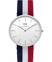 Buy Daniel Wellington Mens Cambridge Silver Red White and Blue Nato Strap Watch online