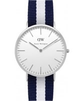 Buy Daniel Wellington Mens Glasgow Silver White and Blue Nato Strap Watch online