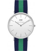 Buy Daniel Wellington Mens Warwick Silver Green and Blue Nato Strap Watch online