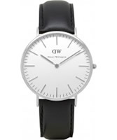 Buy Daniel Wellington Mens Sheffield Silver Black Leather Strap Watch online