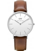 Buy Daniel Wellington Mens ST Andrews Silver Black Leather Strap Watch online