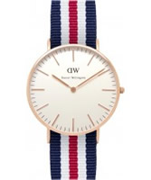 Buy Daniel Wellington Ladies Canterbury Rose Red White and Blue Nato Strap Watch online