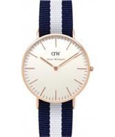 Buy Daniel Wellington Ladies Glasgow Rose White and Blue Nato Strap Watch online