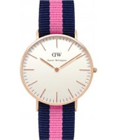 Buy Daniel Wellington Ladies Winchester Rose Pink and Blue Nato Strap Watch online