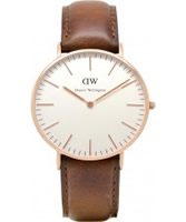 Buy Daniel Wellington Ladies St Andrews Rose Brown Leather Strap Watch online