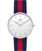 Buy Daniel Wellington Ladies Oxford Silver Red and Blue Nato Strap Watch online