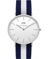 Buy Daniel Wellington Ladies Glasgow Silver White and Blue Nato Strap Watch online