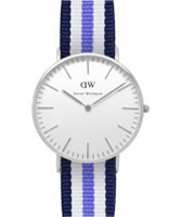Buy Daniel Wellington Ladies Trinity Silver White Purple and Blue Nato Strap Watch online