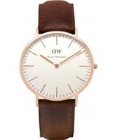 Buy Daniel Wellington Mens Bristol Rose Brown Leather Strap Watch online