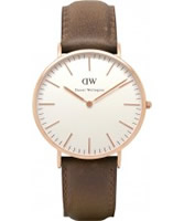 Buy Daniel Wellington Mens Cardiff Rose Brown Leather Strap Watch online