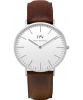 Buy Daniel Wellington Mens Bristol Silver Brown Leather Strap Watch online
